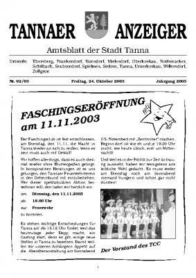 Anzeiger Oktober 2003