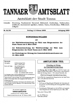 Sonderamtsblatt Februar 2009